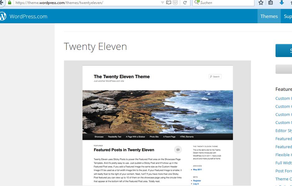 Wordpress TwentyEleven German language files